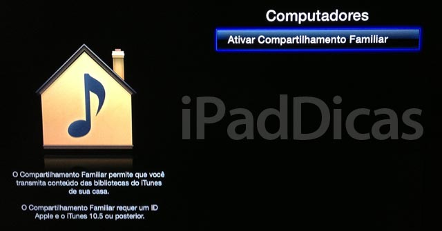 Ajustes do compartilhamento na Apple TV