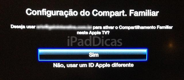 Ativar compartilhamento na Apple TV