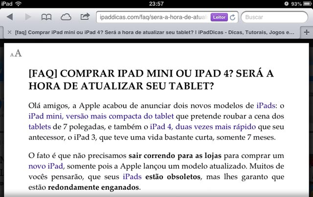 Modo leitor no Safari do iPhone e iPad
